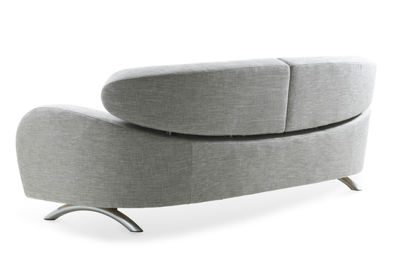 Stream 3-seat sofa, fabric Neon uni silver and polished chrome.